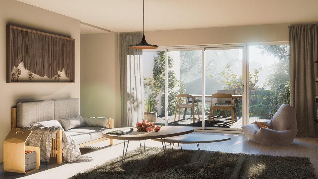 De grands espaces intérieurs et extérieurs pour chaque logement